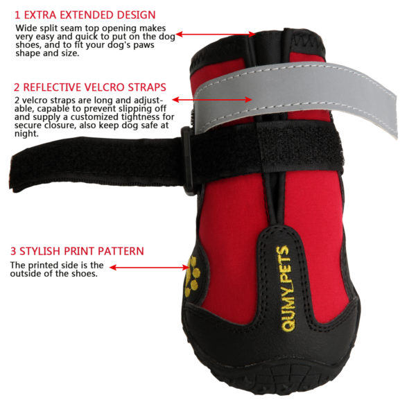 Qumy Dog Boots Waterproof Shoes For Large Dogs With Reflective